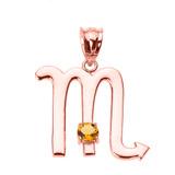Rose Gold Scorpio Zodiac Sign November Birthstone Pendant Necklace