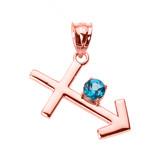 Rose Gold Sagittarius Zodiac Sign December Birthstone Pendant Necklace