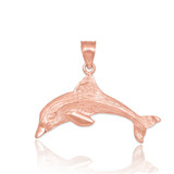 Rose Gold Dolphin Textured Pendant Necklace