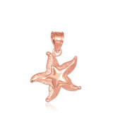 Rose Gold Textured Starfish Pendant Necklace