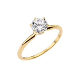 Yellow Gold 1.50 ct Cubic Zirconia Dainty Solitaire Engagement Ring