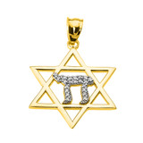Yellow Gold Star of David with Chai Diamond Pendant Necklace