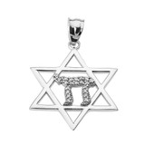 White Gold Star of David with Chai Diamond Pendant Necklace