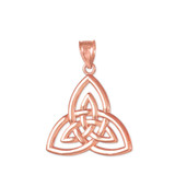 Rose Gold Triquetra Trinity Knot Pendant Necklace