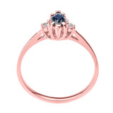 Beautiful Rose Gold Diamond and Sapphire Proposal and Birthstone Ring