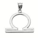 White Gold Libra October Zodiac Sign Pendant Necklace