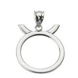 White Gold Taurus May Zodiac Sign Pendant Necklace
