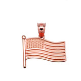 American Flag Rose Gold Charm Pendant Necklace