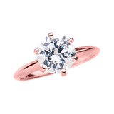 Rose Gold 3.0 ct Cubic Zirconia Solitaire Engagement Ring
