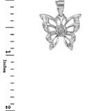Sterling Silver Butterfly CZ Pendant Necklace