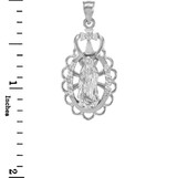 White Gold Virgin Mary Guadalupe Pendant Necklace