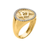Yellow Gold Masonic Men's Diamond Ring