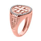 Solid Rose Gold Jerusalem Crusaders Cross Men's Diamond Ring