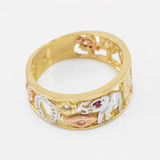 Tri-tone Gold Red CZ Lucky Ring