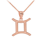Gold Gemini Zodiac Sign Pendant Necklace