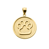 Yellow Gold Dog Paw Print Disc Pendant Necklace