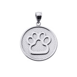White Gold Dog Paw Print Disc Pendant Necklace