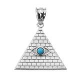 White Gold Egyptian Pyramid with Turquoise Evil Eye Pendant
