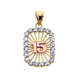 Tri-color Gold Sweet 15 Años Quinceanera CZ Pendant Necklace