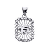 White Gold Sweet 15 Años Quinceanera CZ Pendant Necklace