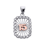 Two Tone Gold Sweet 15 Años Quinceanera CZ Pendant Necklace