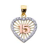 Tri-color Gold Sweet 15 Años Quinceanera CZ Heart Pendant Necklace