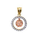 Tri-color Gold Sweet 15 Años Quinceanera CZ Round Pendant Necklace