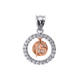 Two Tone Gold Sweet 15 Años Quinceanera CZ Round Pendant Necklace