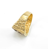 Gold Watchband Design Men's Horseshoe CZ Ring