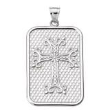 White Gold Armenian Apostolic Cross Pendant Necklace