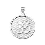 White Gold Om/Ohm Round Pendant Necklace