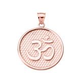 Rose Gold Om/Ohm Round Pendant Necklace