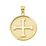 Yellow Gold Greek Cross Round Pendant Necklace
