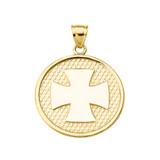Yellow Gold Iron Cross Round Pendant Necklace
