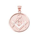Rose Gold Freemason Masonic Round Pendant Necklace
