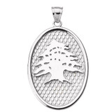 Sterling Silver Lebanese Cedar Tree Oval Pendant Necklace