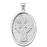 White Gold Trinity Knot Celtic Cross Oval Pendant Necklace