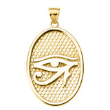 Yellow Gold Eye of Horus Oval Pendant Necklace