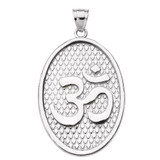 Sterling Silver Om/Ohm Oval Pendant Necklace