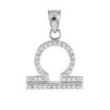 14K White Gold Libra Zodiac Sign Diamond Pendant Necklace