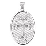 Sterling Silver Armenian Apostolic Cross Oval Pendant Necklace
