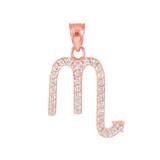 14K Rose Gold Scorpio Zodiac Sign Diamond Pendant Necklace