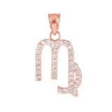 14K Rose Gold Virgo Zodiac Sign Diamond Pendant Necklace