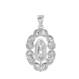 White Gold Our Lady Guadalupe Pendant Necklace