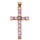 10k Rose Gold Diamond and Pink CZ Cross Pendant Necklace