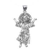 Sterling Silver Baby Jesus Cubic Zirconia Medium Pendant Necklace