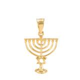 Gold Menorah Pendant with Star of David