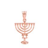 Rose Gold Menorah Pendant with Star of David