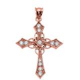 Rose Gold Diamond Celtic Cross Pendant Necklace
