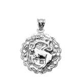 Sterling Silver Capricorn January Zodiac Sign Round Pendant Necklace